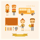 Set of vector school illustrations. Set of vector cartoon school illustrations Stock Photo