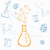 Set of vector science equipment drawn on squared note paper. Ske Royalty Free Stock Image
