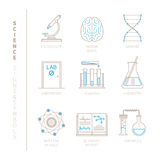 Set of vector science icons and concepts in mono thin line style Royalty Free Stock Photo