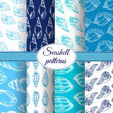 Set of vector sea patterns. Summer background with shell elements. Royalty Free Stock Image