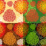 Set of 4 seamless floral backgrounds. Set of 4 vector seamless abstract floral backgrounds in autumn colors Stock Illustration