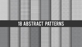 Set of 18 vector seamless abstract patterns. Can be used for wallpaper, website background, wrapping paper invitation, flyer, banner and cover. Line and round Royalty Free Stock Photo