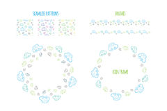 Set of vector seamless baby boy pattern. Pattern, circle wreath and brushes borders with hand drawn cars. Elements for design kids banner, flyer, background Royalty Free Stock Images