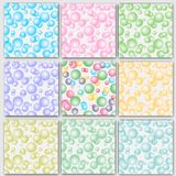 Set of vector seamless backgrounds. Backgrounds of air bubbles mixed.  royalty free illustration