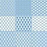 Set of vector seamless backgrounds from fish scales. In blue and white. A collection of simple vintage samples of the endless patterns in sea style for design Stock Photos
