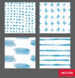 Set of vector seamless backgrounds of paint smears.Hand Drawn Abstract Seamless Pattern Stock Images