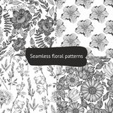 Set of vector seamless black and white patterns with flowers. For design of textiles, covers, wallpapers, packages and wrapping paper Royalty Free Stock Images