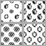 Set of vector seamless black and white patterns with fruits, repeat backgrounds with berry, strawberry, orange, grapefruits.  Royalty Free Stock Photos