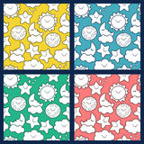 Set of vector seamless cartoon pattern. Royalty Free Stock Photography
