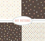 Set of vector seamless cute retro patterns. Stock Photography