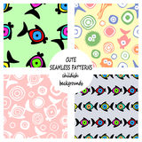 Set of vector seamless decorative pattern with hand drawn fish, starfish, octopus. Cute childlike backgrounds. Template for wrappi Royalty Free Stock Photography