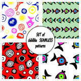 Set of vector seamless decorative pattern with hand drawn fish, starfish, octopus.   Stock Image