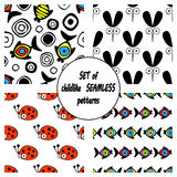 Set of vector seamless decorative pattern with hand drawn ladybug, mosquito, fish. Cute childlike backgrounds. Template for wrappi. Set of vector seamless Stock Images