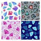Set of vector seamless diamonds patterns. Jewelry, jems backgrounds vector illustration