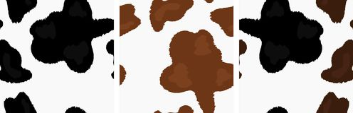 Set of Vector Seamless with Different Cow`s Skin royalty free illustration