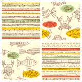 Set of vector seamless ethnicity patterns with fish, crab and ca Stock Photo