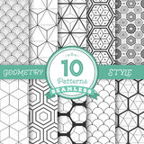 Set of 10 Vector Seamless Geometric Lines Pattern Backgrounds fo. Illustration of Set of 10 Vector Seamless Geometric Lines Pattern Backgrounds for Web Stock Photos