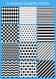 Set of vector seamless geometric pattern. Black and white stripe Royalty Free Stock Image