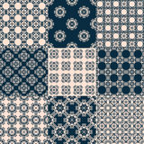Set of vector seamless geometrical patterns. Vintage textures. Decorative background for cards, invitations, web design Royalty Free Stock Image
