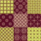 Set of vector seamless geometrical patterns. Vintage textures. Decorative background for cards, invitations, web design Stock Photos
