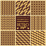 Set of vector seamless geometrical patterns.Vintage textures Royalty Free Stock Photography