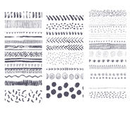 Set of vector seamless hand drawn ink textures. Collection of handwritten brushes. stock illustration