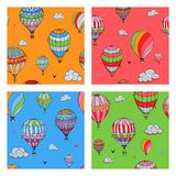 Set of  seamless pattern with balloons in bright colors. Many differently colored striped air balloons flying in the clouded vector illustration