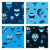Set of vector seamless pattern with balloons in monochrome colors. Many differently colored striped air balloons flying in the royalty free illustration