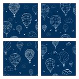 Set of  seamless pattern with balloons in monochrome colors. Many differently colored striped air balloons flying in the stock illustration