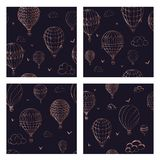 Set of  seamless pattern with balloons in monochrome colors. Many differently colored striped air balloons flying in the royalty free illustration