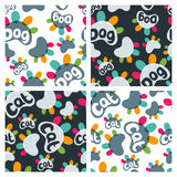Set of vector seamless pattern with colorful cat and dog paws and hand drawn letters. Stock Photography