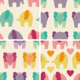 Set of 4 vector seamless pattern with cute colorful elephants Royalty Free Stock Image