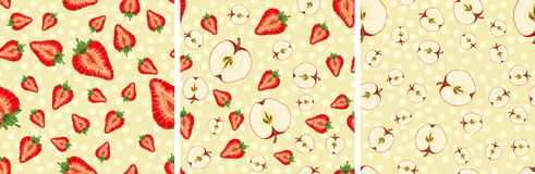 Vector seamless pattern with fruit slices. Set of vector seamless pattern with fruit slices. Apples and strawberries on a beige polka dots background vector illustration
