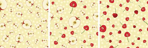Vector seamless pattern with fruit slices. Set of vector seamless pattern with fruit slices. Cherries and apples on a beige polka dot pink background stock illustration