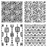 Set of Vector seamless pattern, graphic illustration Stock Photos
