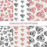 Set of vector seamless pattern with hand drawn Royalty Free Stock Photography