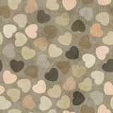 Set of 4 vector seamless pattern with hearts. Decorative endless beige retro background. Vintage fabric design. Stock Photos