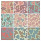 Set of vector seamless pattern with hearts Stock Photography