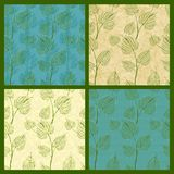 Set of vector seamless pattern with leaves Royalty Free Stock Images