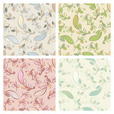 Set of vector seamless pattern with pastel decorative leaves. Ve Stock Photos