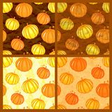 Set of vector seamless pattern with pumpkins Stock Photo