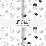 Set of vector seamless pattern on the space theme. Concept. Cartoon astronaut in outer space. Royalty Free Stock Photo