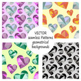 Set of vector seamless patterns with abstract geometric hearts. Polygonal design. Geometric triangular origami style, graphic illu. Stration. Series of Love Stock Photo