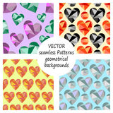 Set of vector seamless patterns with abstract geometric hearts. Polygonal design. Geometric triangular origami style, graphic illu. Stration. Series of Love Stock Image