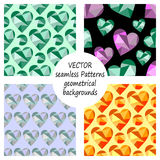 Set of vector seamless patterns with abstract geometric hearts. Polygonal design. Geometric triangular origami style, graphic illu. Stration. Series of Love Royalty Free Stock Photography