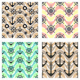 Set of vector seamless patterns with anchor, steering wheel, life preserver and waves. Creative geometric symmetrical background, Royalty Free Stock Image
