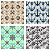 Set of vector seamless patterns with anchor, steering wheel, life preserver and waves. Creative geometric symmetrical background, Stock Image