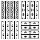 Set of vector seamless patterns with anchor, steering wheel and rope. Creative geometric symmetrical background, nautical theme. G. Raphic illustration. Black Stock Photo