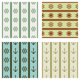 Set of vector seamless patterns with anchor, steering wheel and rope. Creative geometric symmetrical background, nautical theme. G Stock Photography