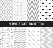 Set of vector seamless patterns in black and white Royalty Free Stock Photo